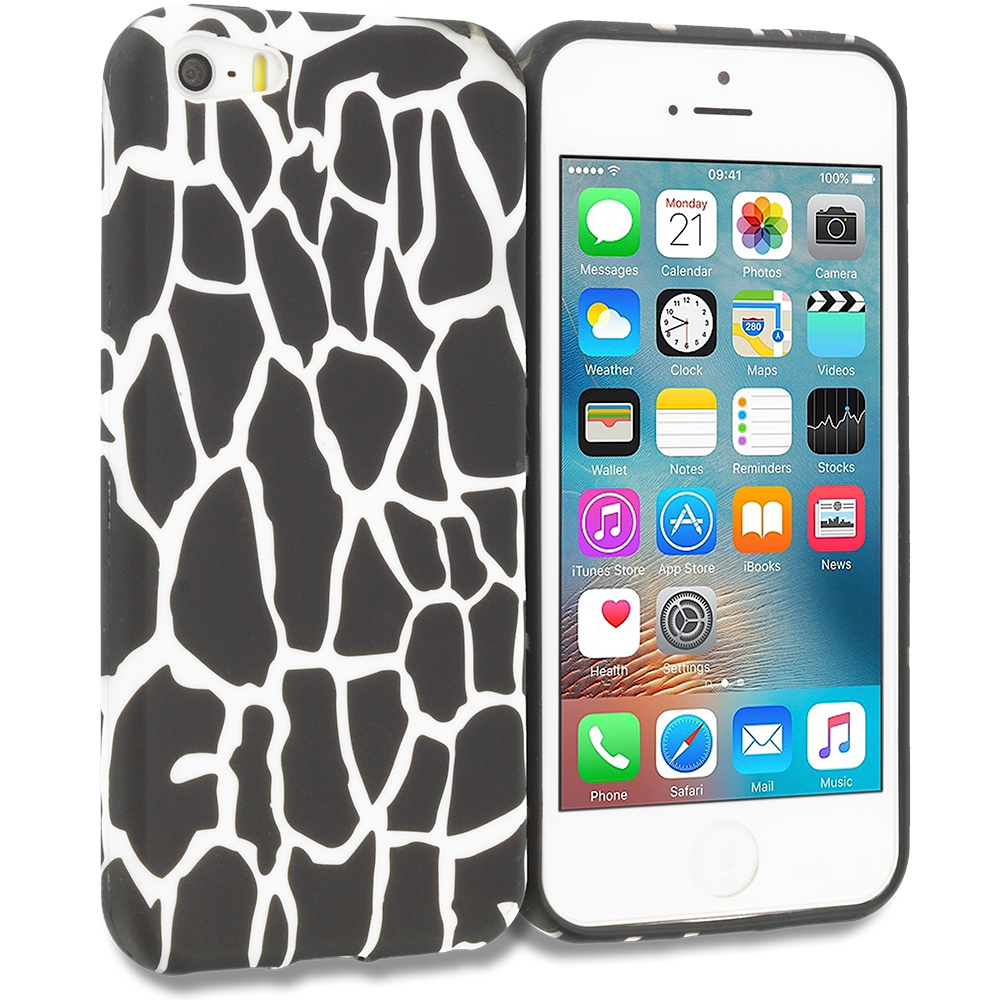 Apple iPhone 5/5S/SE Combo Pack : Black Giraffe TPU Design Soft Rubber Case Cover : Color Black Giraffe