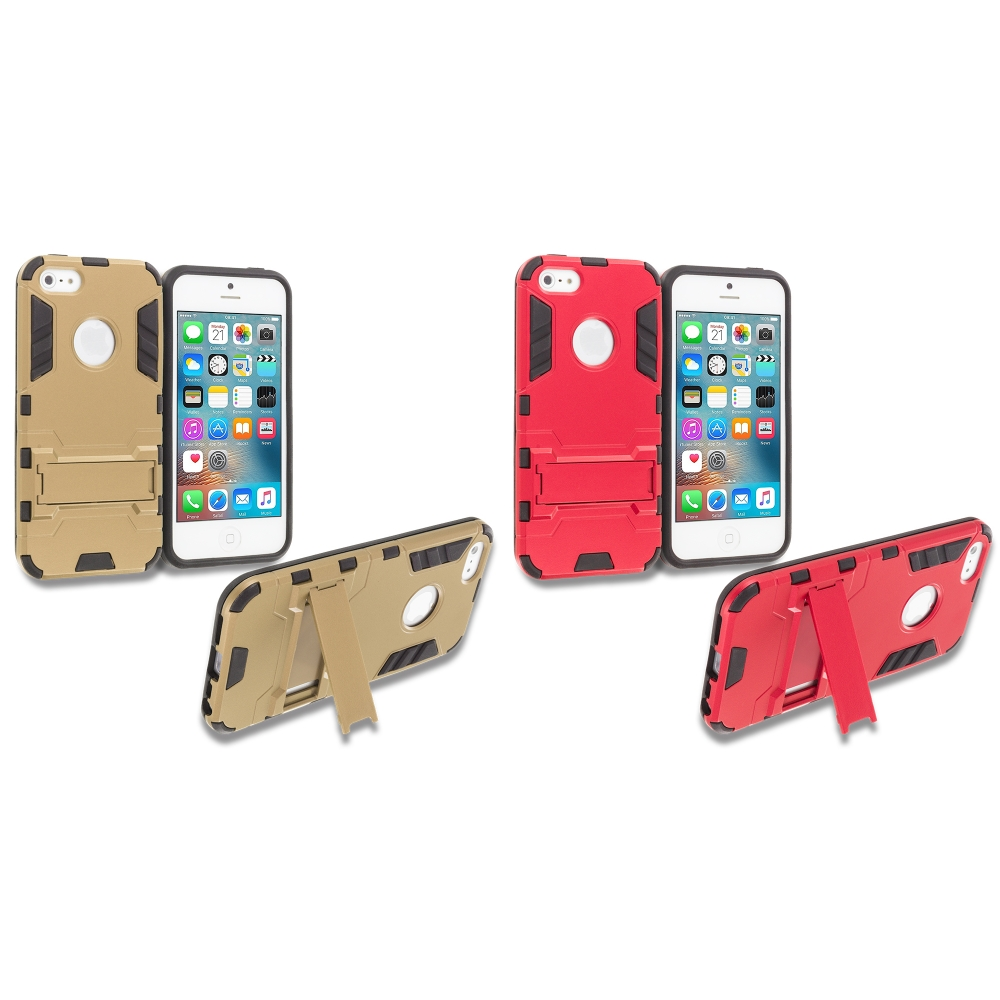 Apple iPhone 5/5S/SE Combo Pack : Gold Hybrid Transformer Armor Slim Shockproof Case Cover Kickstand