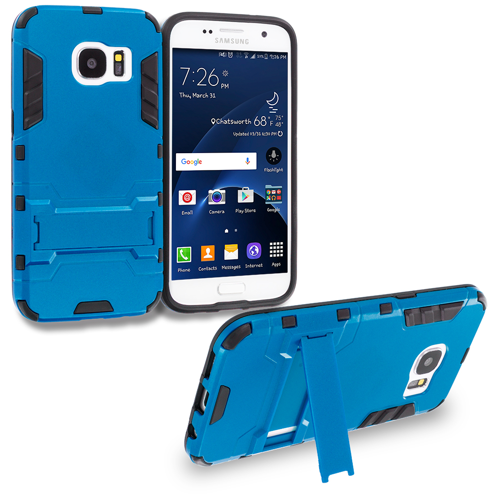 Samsung Galaxy S7 Edge Blue Hybrid Transformer Armor Slim Shockproof Case Cover Kickstand