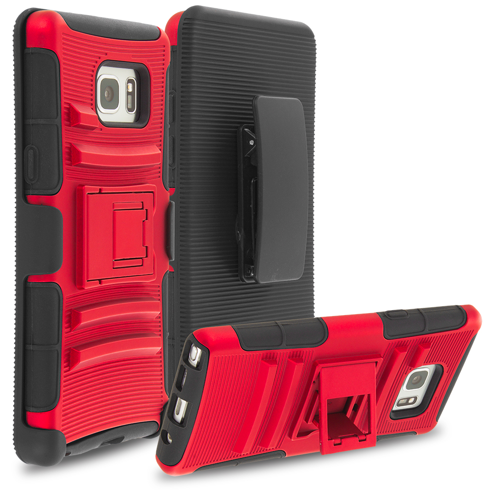 Samsung Galaxy Note 7 Red Hybrid Heavy Duty Rugged Case Cover with Belt Clip Holster