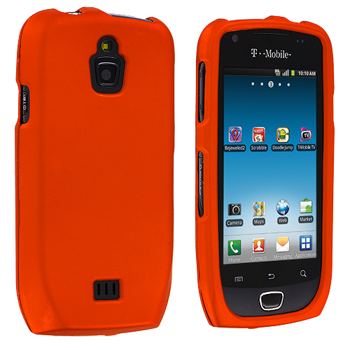 Samsung Exhibit 4G T759 Orange Hard Rubberized Case Cover