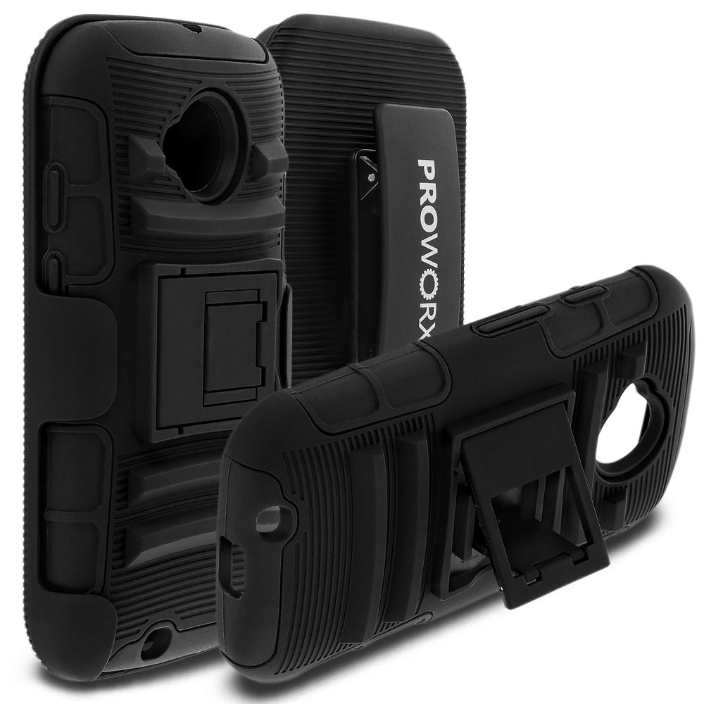 Motorola Moto E LTE 2nd Generation ProWorx Black Heavy Duty Shock Absorption Armor Defender Case Cover With Belt Clip Holster