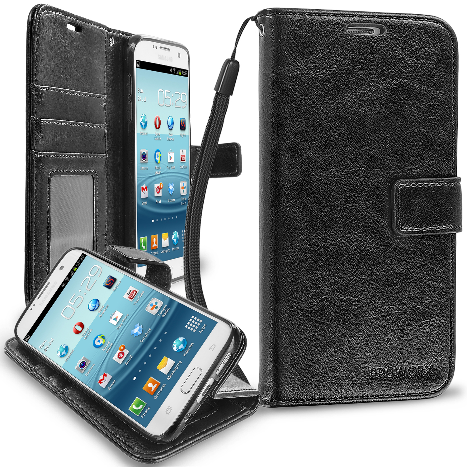 Samsung Galaxy S7 Edge Black ProWorx Wallet Case Luxury PU Leather Case Cover With Card Slots & Stand