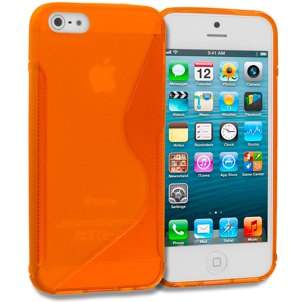 Apple iPhone 5/5S/SE Combo Pack : Baby Blue S-Line TPU Rubber Skin Case Cover : Color Orange S-Line