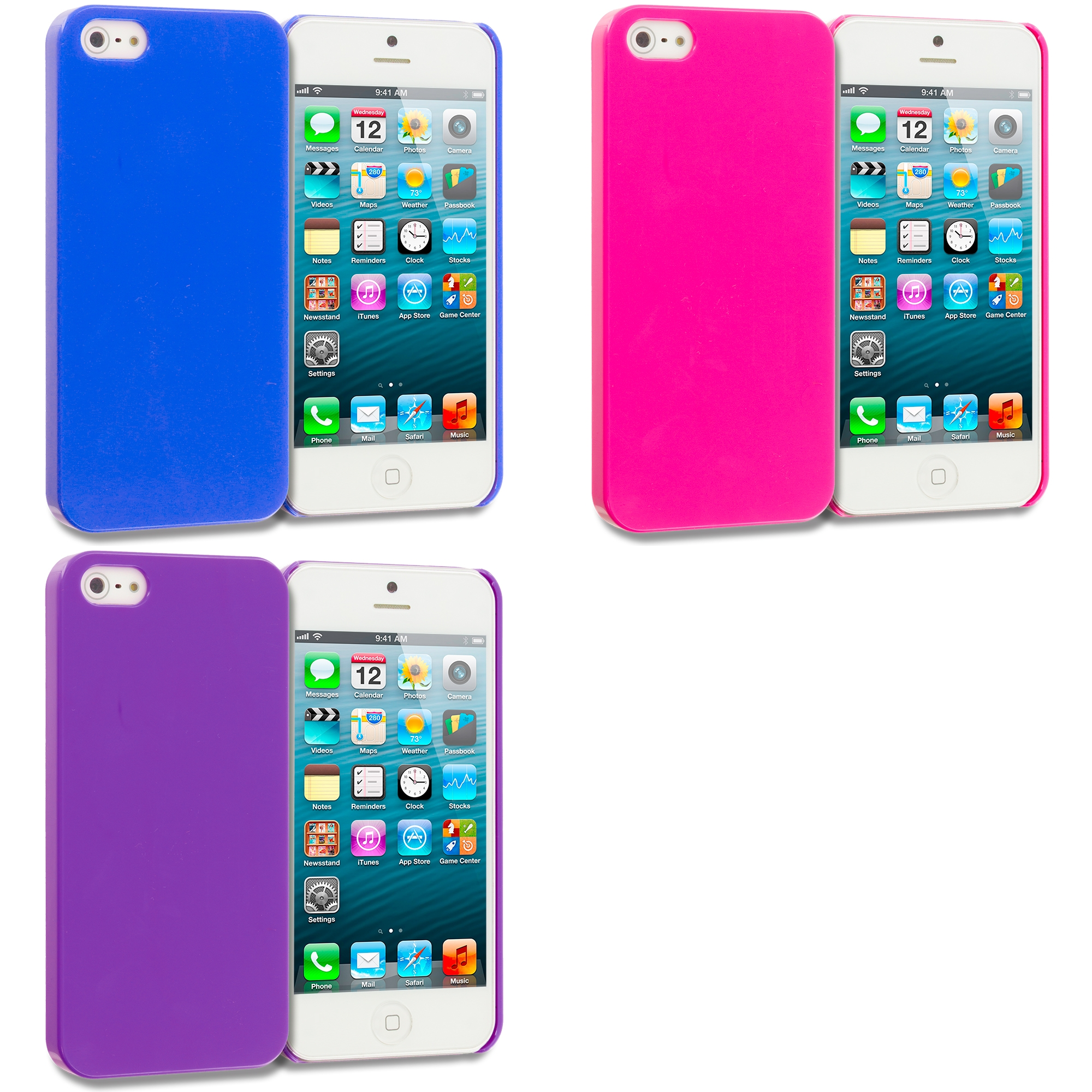 Apple iPhone 5/5S/SE Combo Pack : Blue Solid Crystal Hard Back Cover Case
