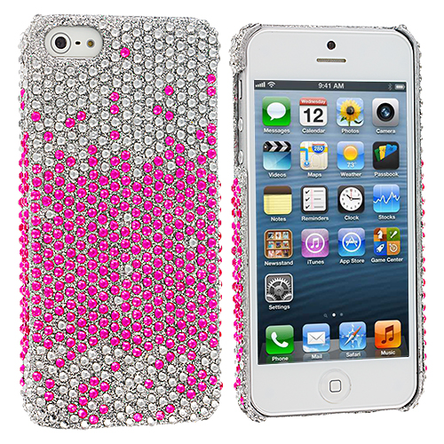 Apple iPhone 5/5S/SE Pink Silver Bling Rhinestone Case Cover