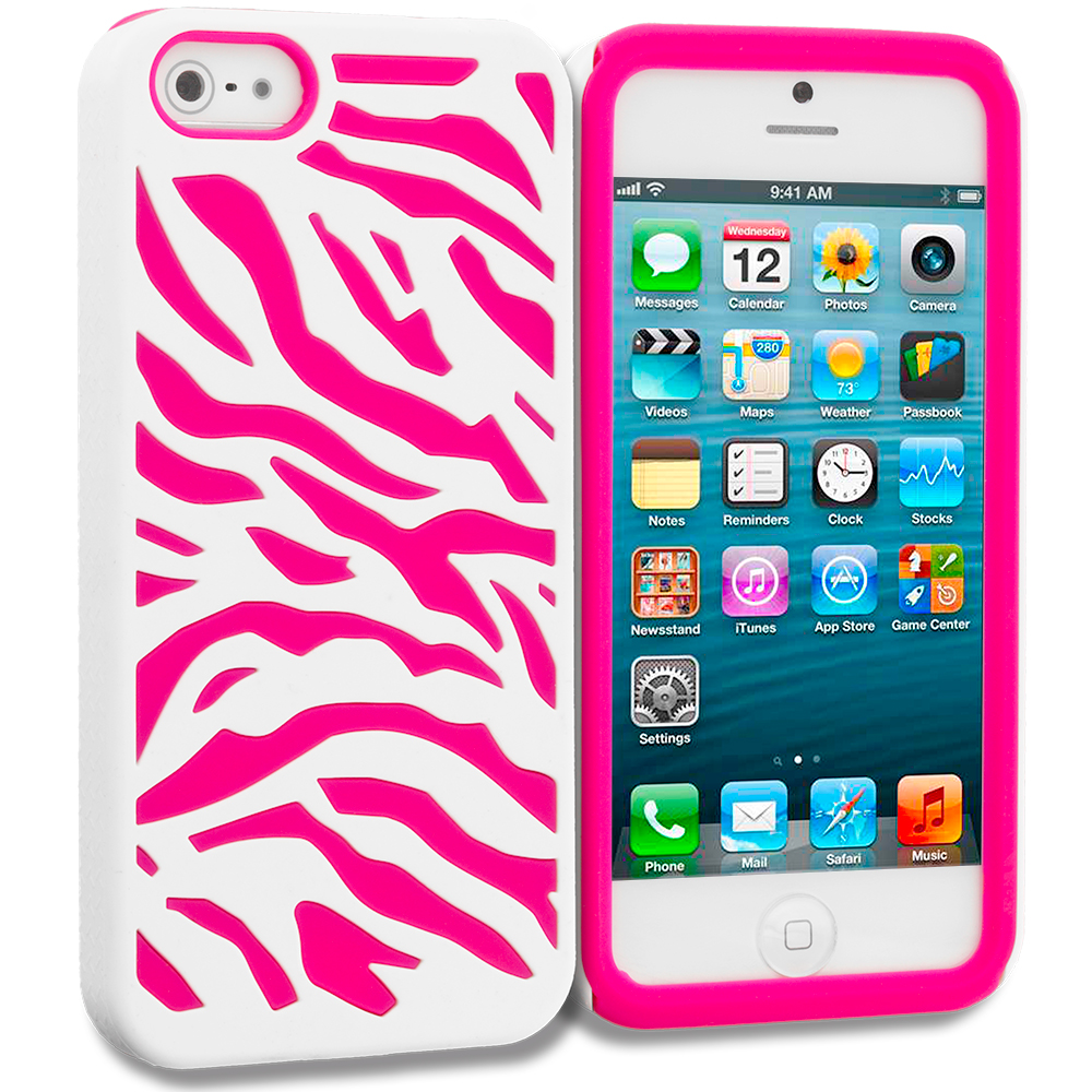 Apple iPhone 5/5S/SE Hot Pink / White Hybrid Zebra Hard/Soft Case Cover