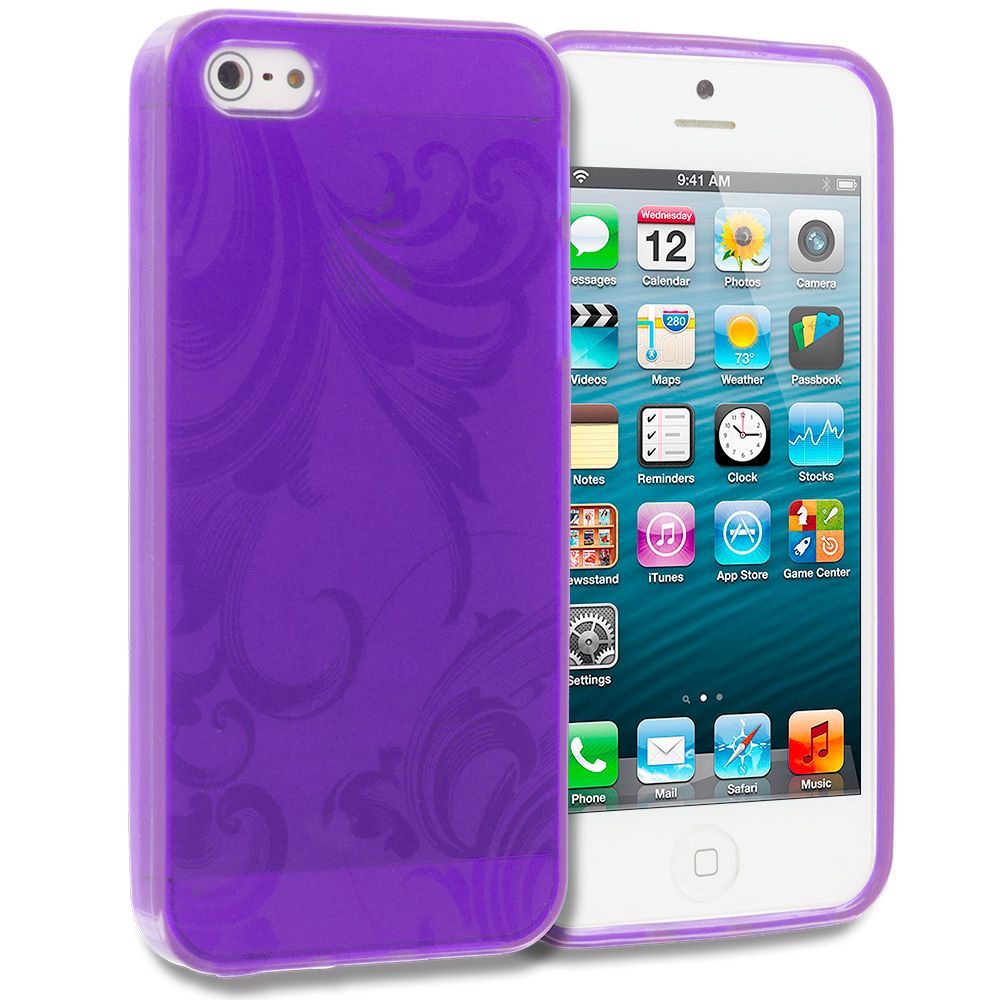 Apple iPhone 5/5S/SE Combo Pack : Hot Pink Floral TPU Rubber Skin Case Cover : Color Purple Floral