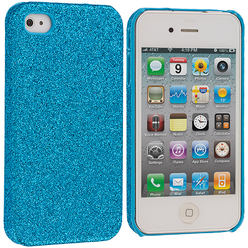 Apple iPhone 4 / 4S Baby Blue Glitter Case Cover