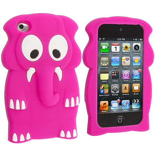 Apple iPod Touch 4th Generation Hot Pink Elephant Silicone Soft Skin Case Cover