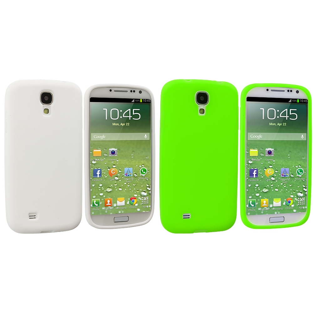 Samsung Galaxy S4 2 in 1 Combo Bundle Pack - White Green Silicone Soft Skin Case Cover