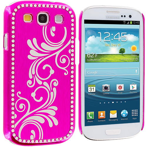 Samsung Galaxy S3 2 in 1 Combo Bundle Pack - Black Pink Diamond Luxury Flower Case Cover : Color Hot Pink