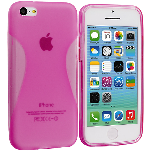 Apple iPhone 5C 2 in 1 Combo Bundle Pack - Hot Pink Yellow Slim TPU Rubber Skin Case Cover : Color Hot Pink Slim