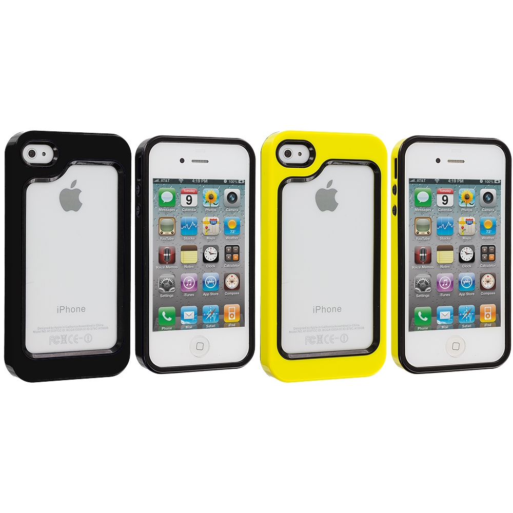 Apple iPhone 4 / 4S 2 in 1 Combo Bundle Pack - Black / Yellow Hybrid TPU Bumper Case Cover
