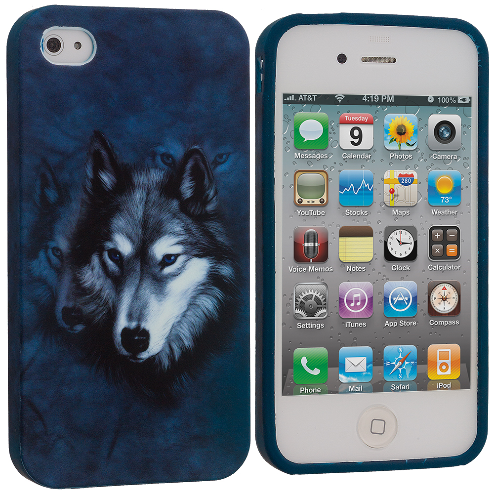 Apple iPhone 4 / 4S Wolf TPU Design Soft Case Cover