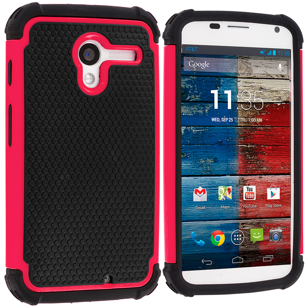 Motorola Moto X 2 in 1 Combo Bundle Pack - Black / Pink Hybrid Rugged Hard/Soft Case Cover : Color Black / Hot Pink