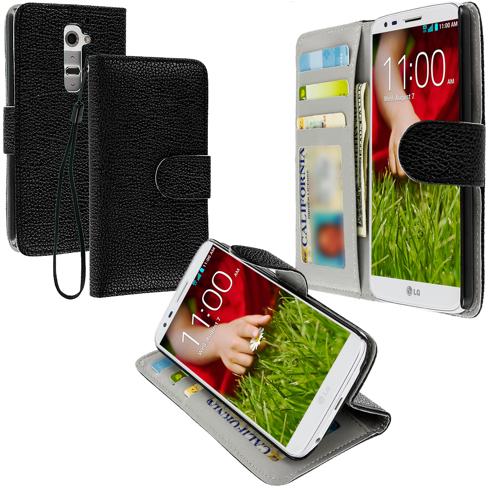 LG G2 Sprint, T-Mobile, At&t Black Leather Wallet Pouch Case Cover with Slots