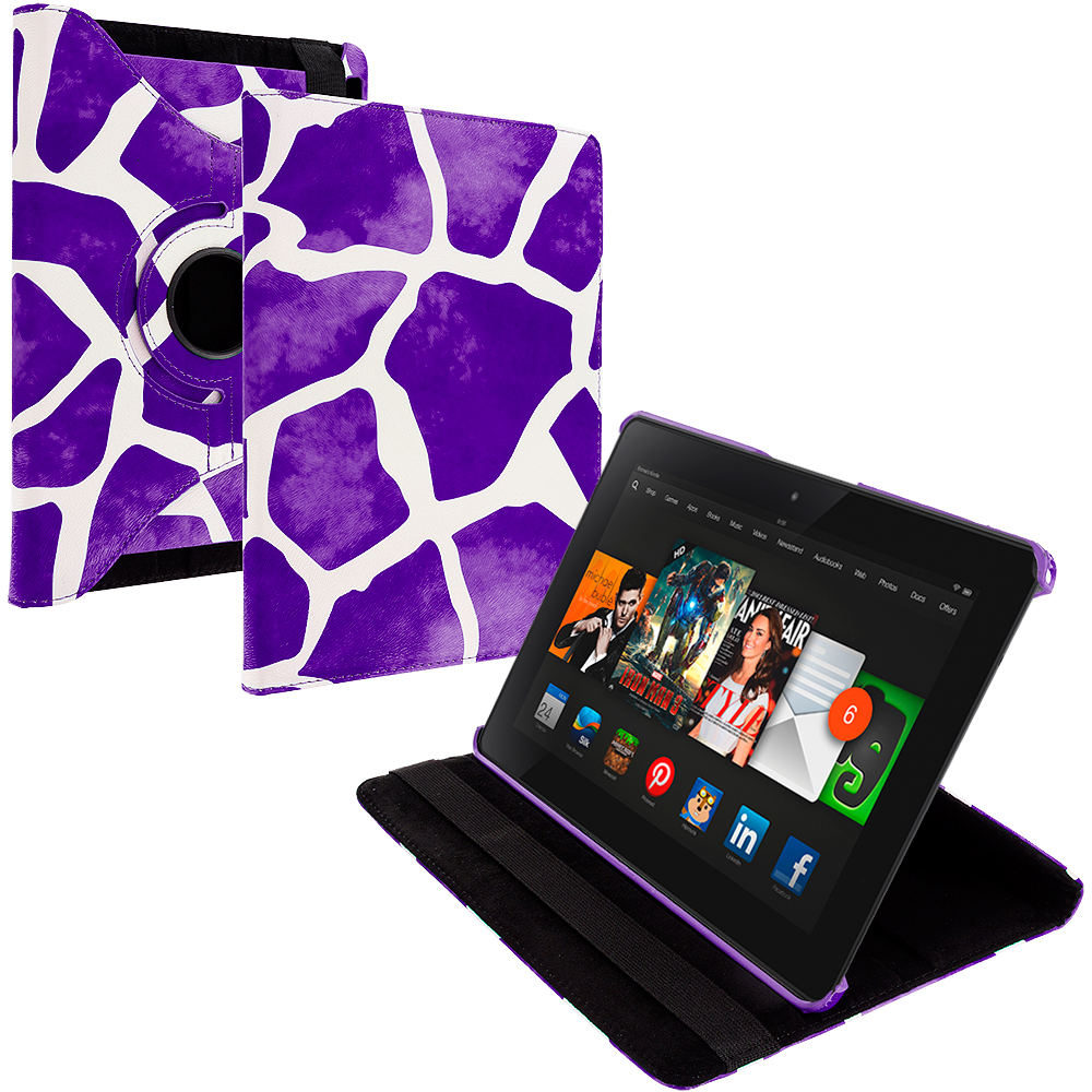 Amazon Kindle Fire HDX 8.9 Purple Giraffe 360 Rotating Leather Pouch Case Cover Stand