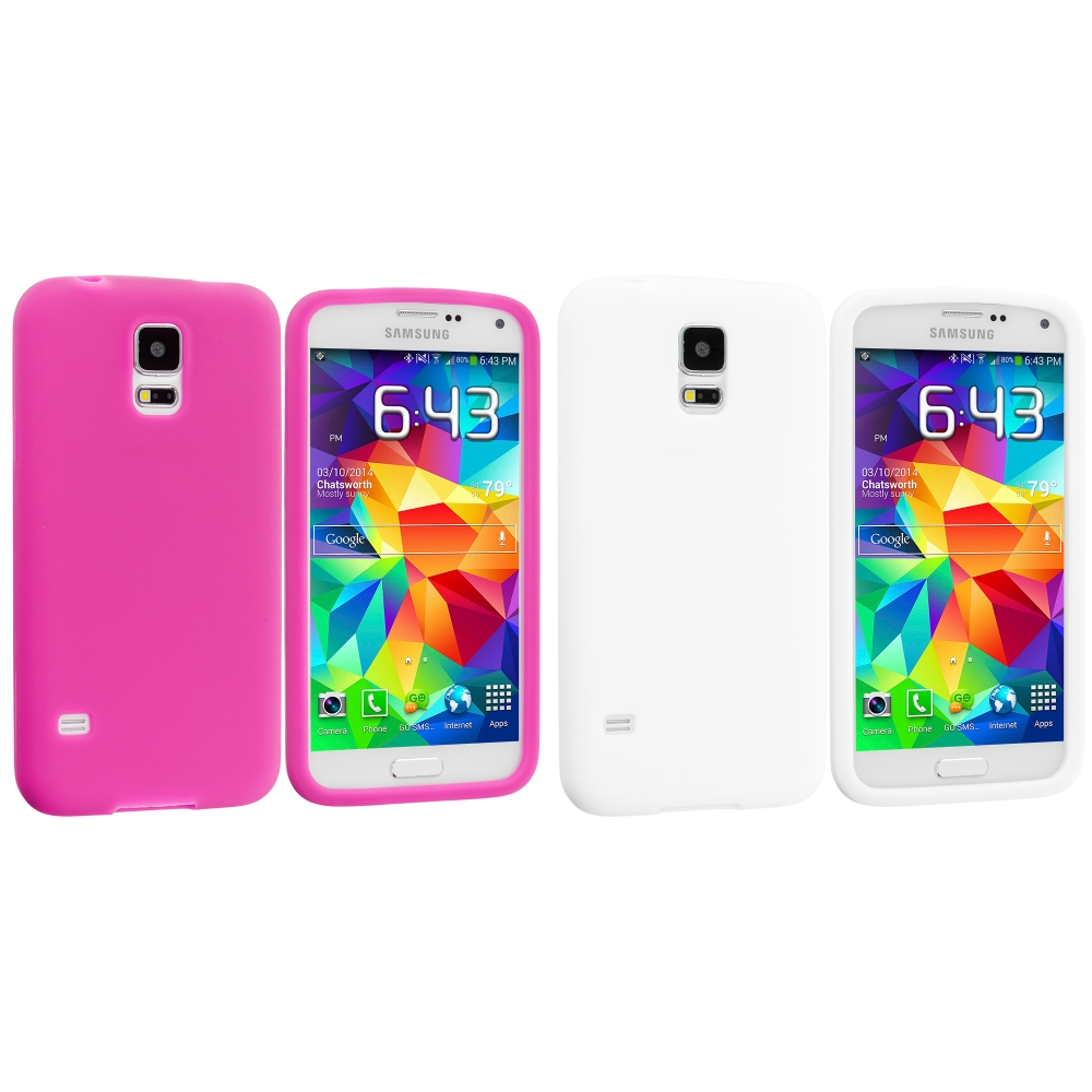 Samsung Galaxy S5 2 in 1 Combo Bundle Pack - White Hot Pink Silicone Soft Skin Case Cover