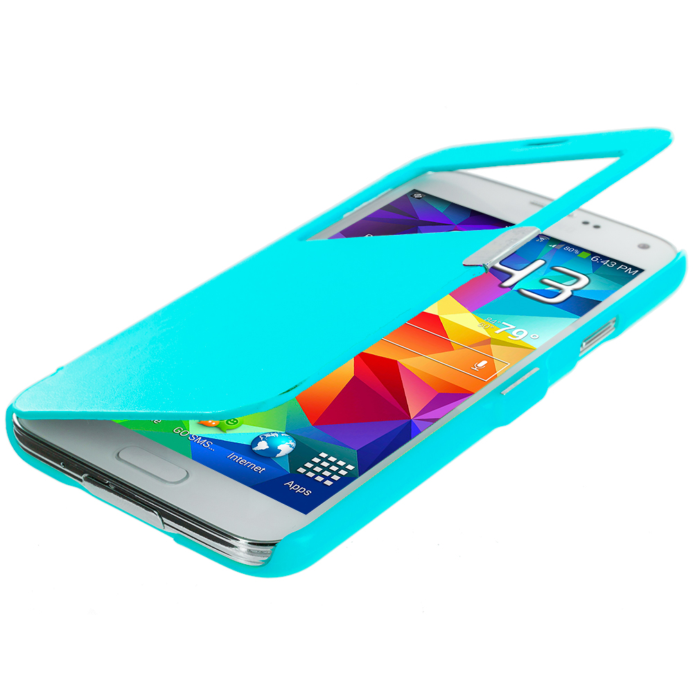 Samsung Galaxy S5 Baby Blue (Open Front) Magnetic Wallet Case Cover Pouch