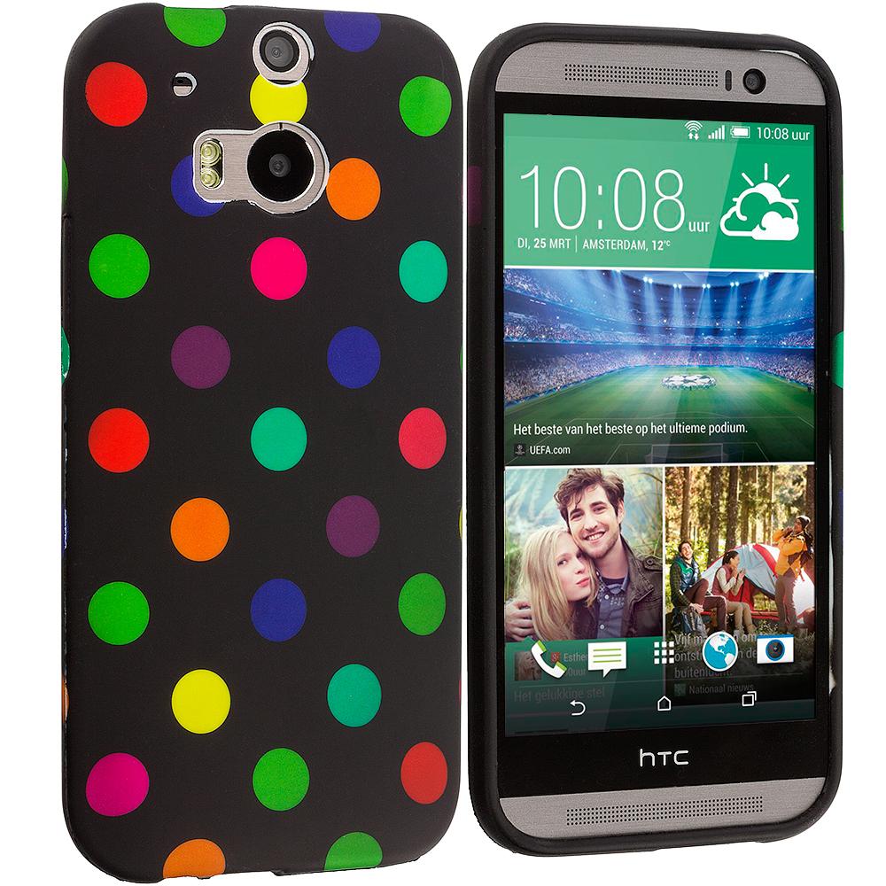 HTC One M8 Black / Colorful TPU Polka Dot Skin Case Cover
