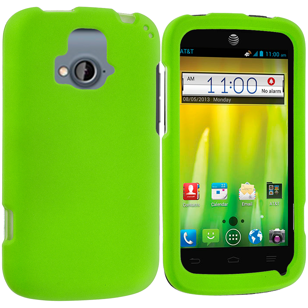 ZTE Radiant Neon Green Hard Rubberized Case Cover