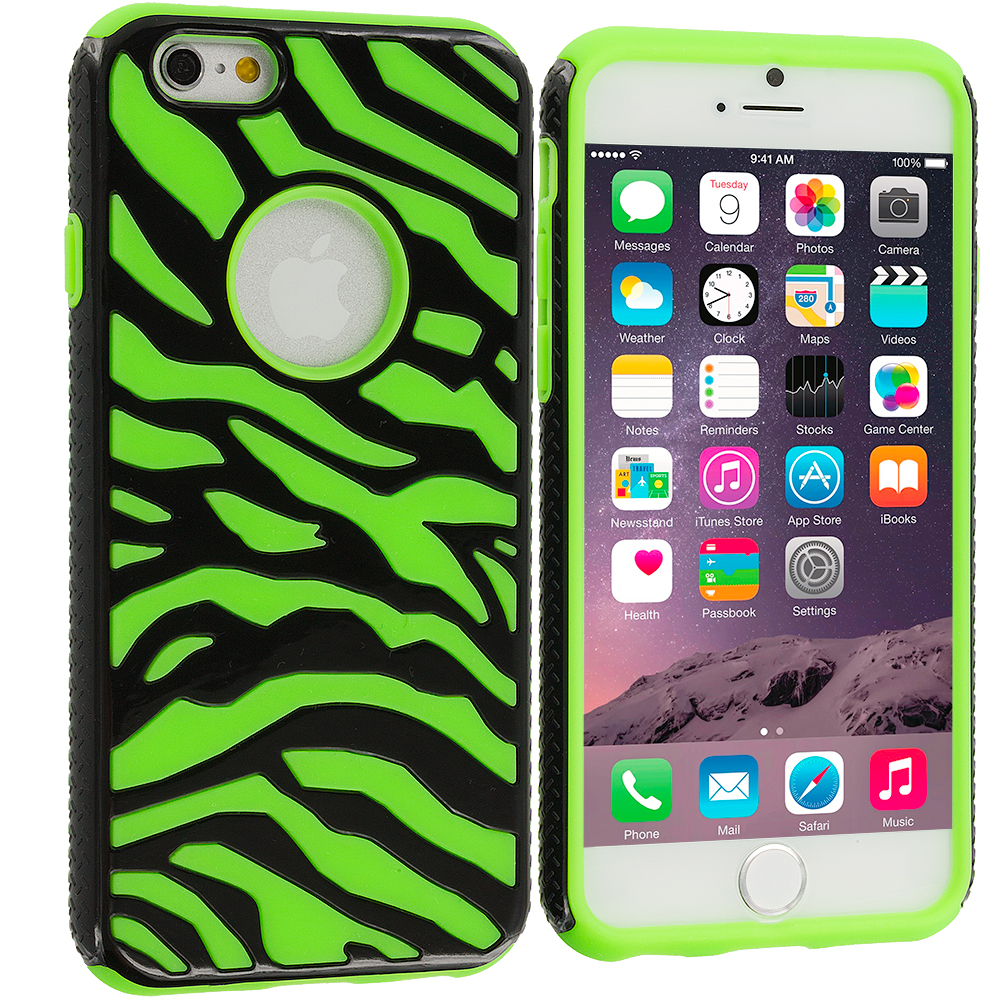 Apple iPhone 6 6S (4.7) 5 in 1 Combo Bundle Pack - Hybrid Zebra Hard/Soft Case Cover : Color Black / Neon Green