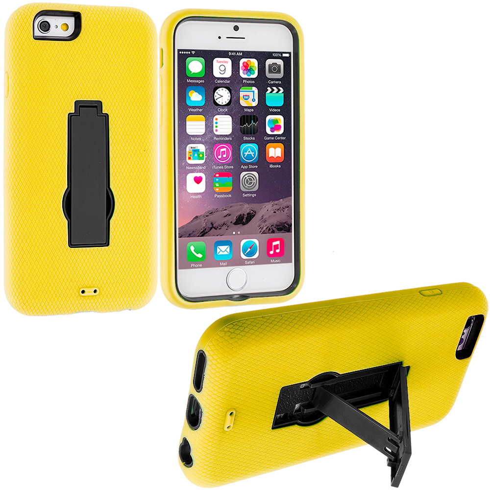 Apple iPhone 6 Plus 6S Plus (5.5) 3 in 1 Combo Bundle Pack - Hybrid Heavy Duty Hard Soft Case Cover with Kickstand : Color Yellow / Black