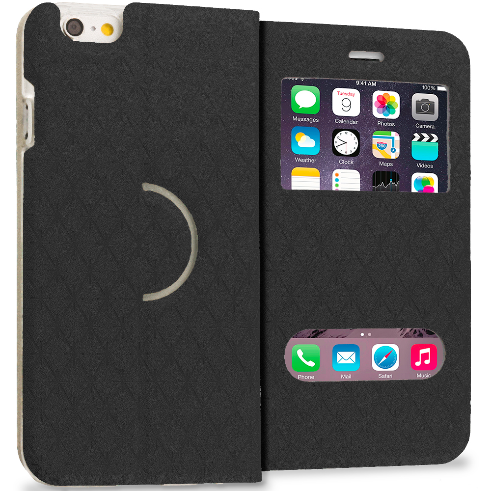 Apple iPhone 6 6S (4.7) Black Slim Hard Wallet Flip Case Cover With Double Window