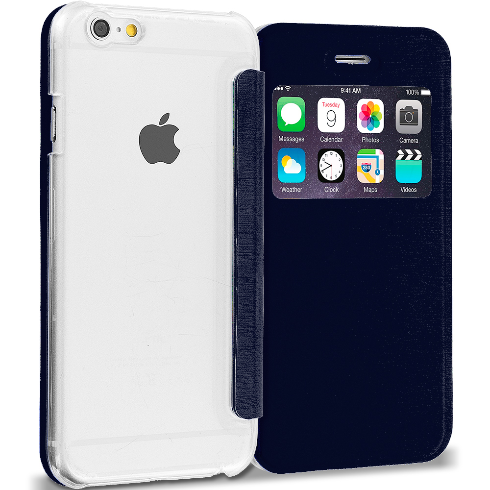 Apple iPhone 6 6S (4.7) 13 in 1 Combo Bundle Pack - Slim Hard Wallet Flip Case Cover Clear Back With Window : Color Navy Blue