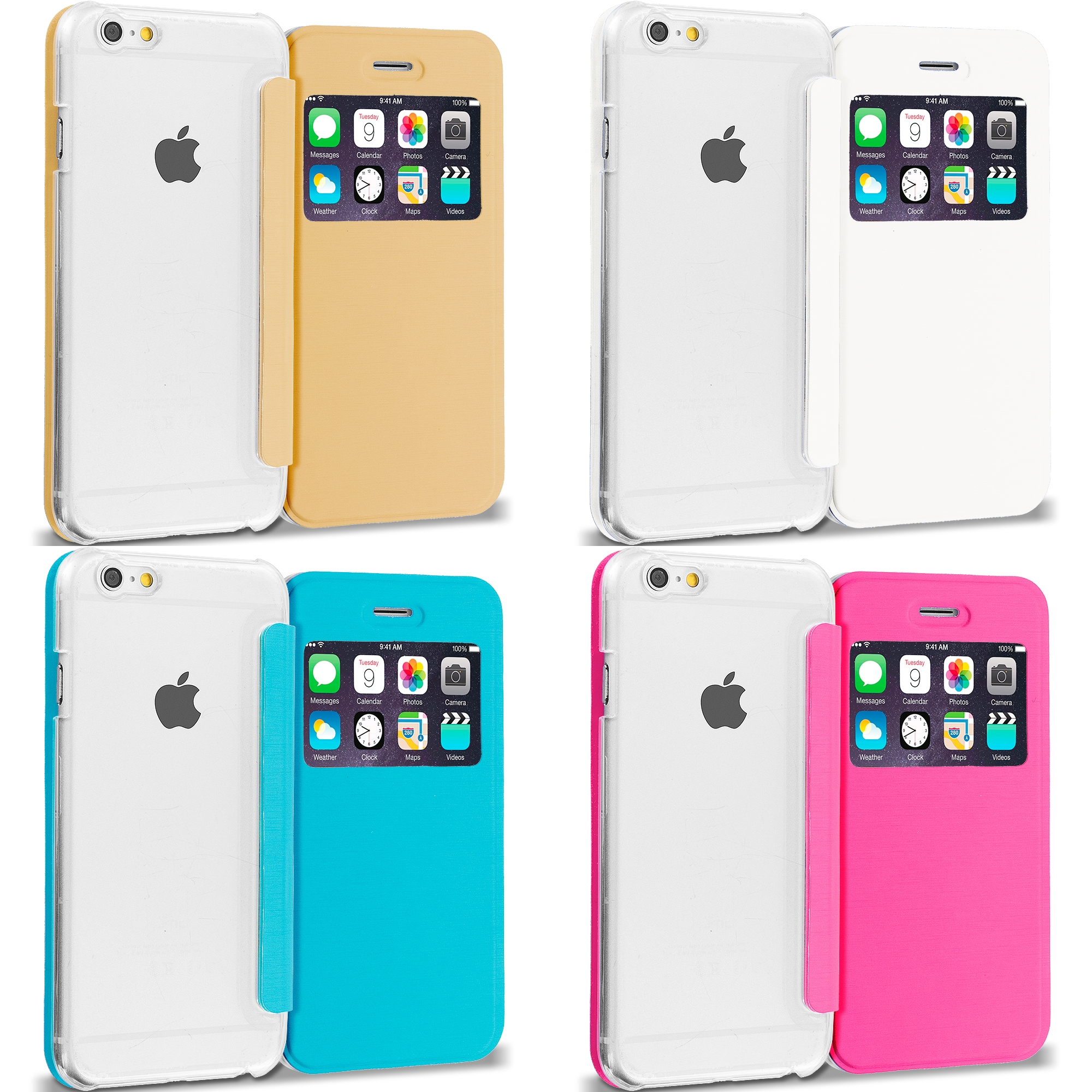 Apple iPhone 6 Plus 6S Plus (5.5) 4 in 1 Combo Bundle Pack - Slim Hard Wallet Flip Case Cover Clear Back With Window