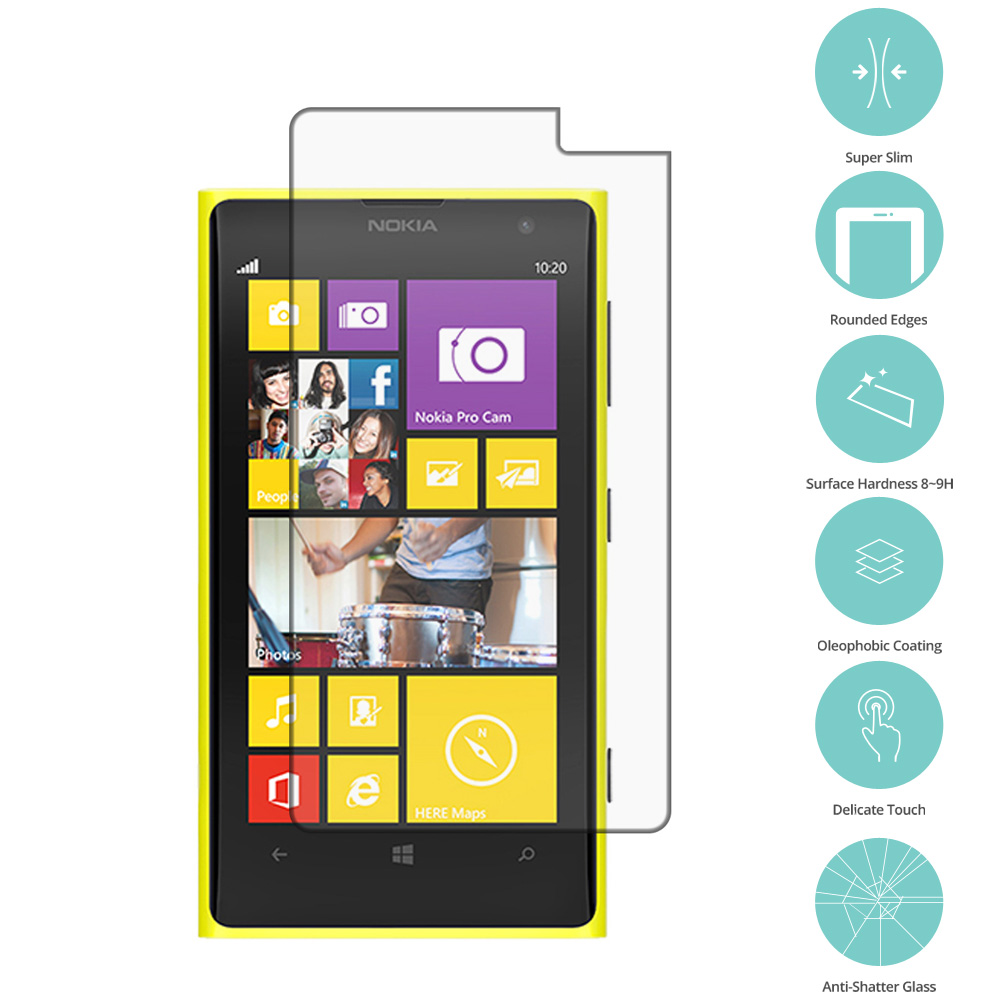 Nokia Lumia 1020 Clear Tempered Glass High Quality 0.33mm LCD Screen Protector