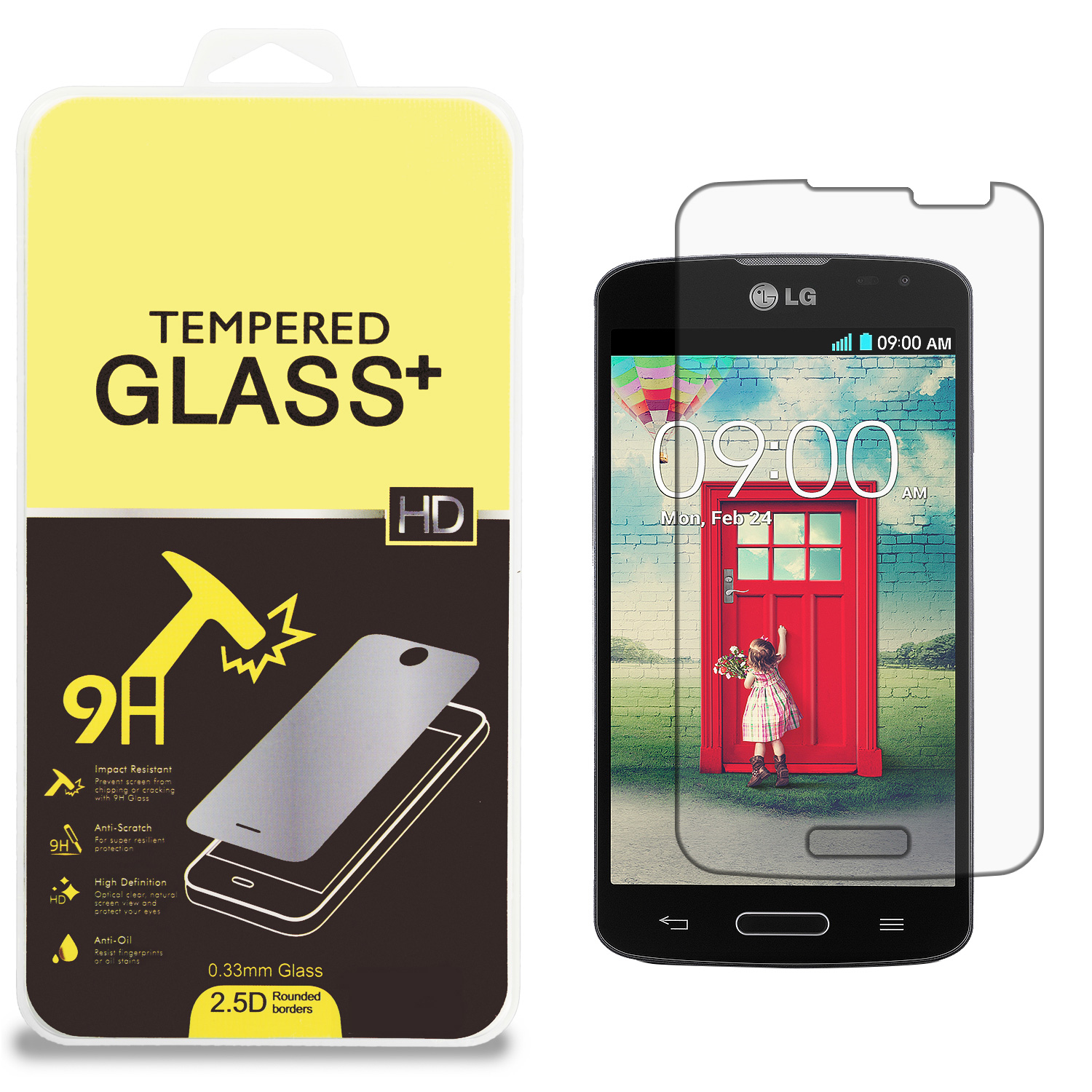 LG Optimus L70 Clear Tempered Glass High Quality 0.33mm LCD Screen Protector