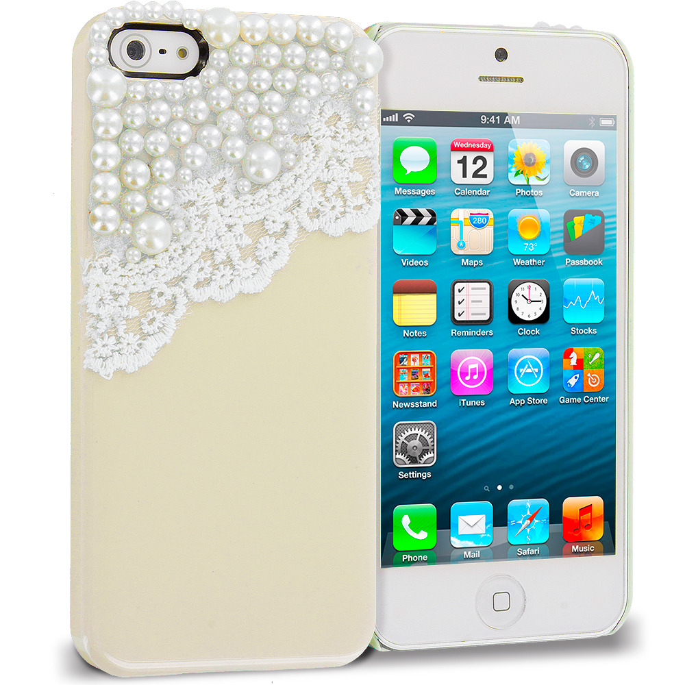 Apple iPhone 5/5S/SE Combo Pack : Golden Pearls Crystal Hard Back Cover Case : Color Golden Pearls