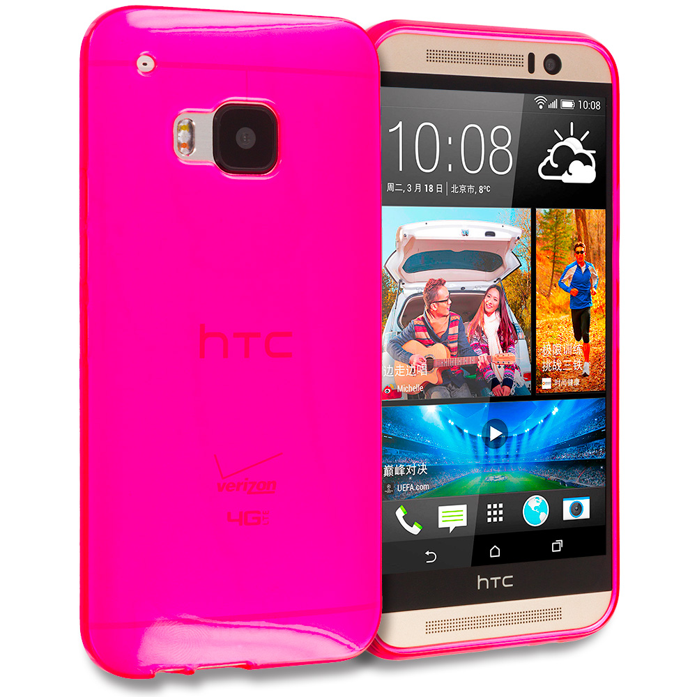 HTC One M9 Hot Pink TPU Rubber Skin Case Cover