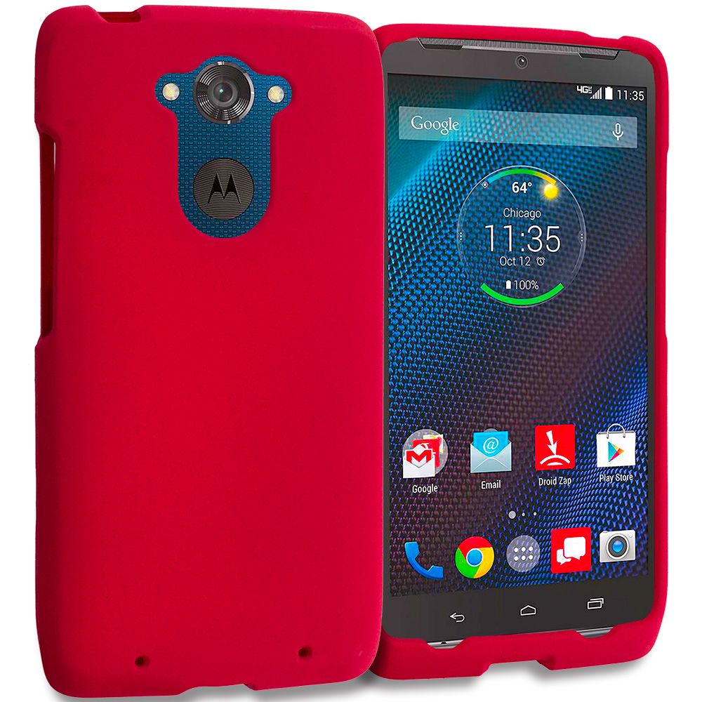 Motorola Droid Turbo Red Hard Rubberized Case Cover