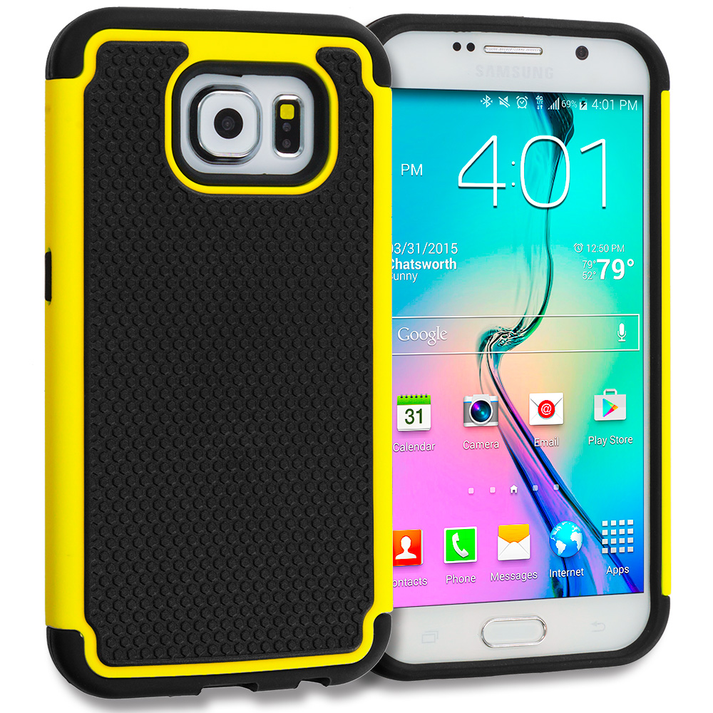 Samsung Galaxy S6 Combo Pack : Black / Red Hybrid Rugged Grip Shockproof Case Cover : Color Black / Yellow
