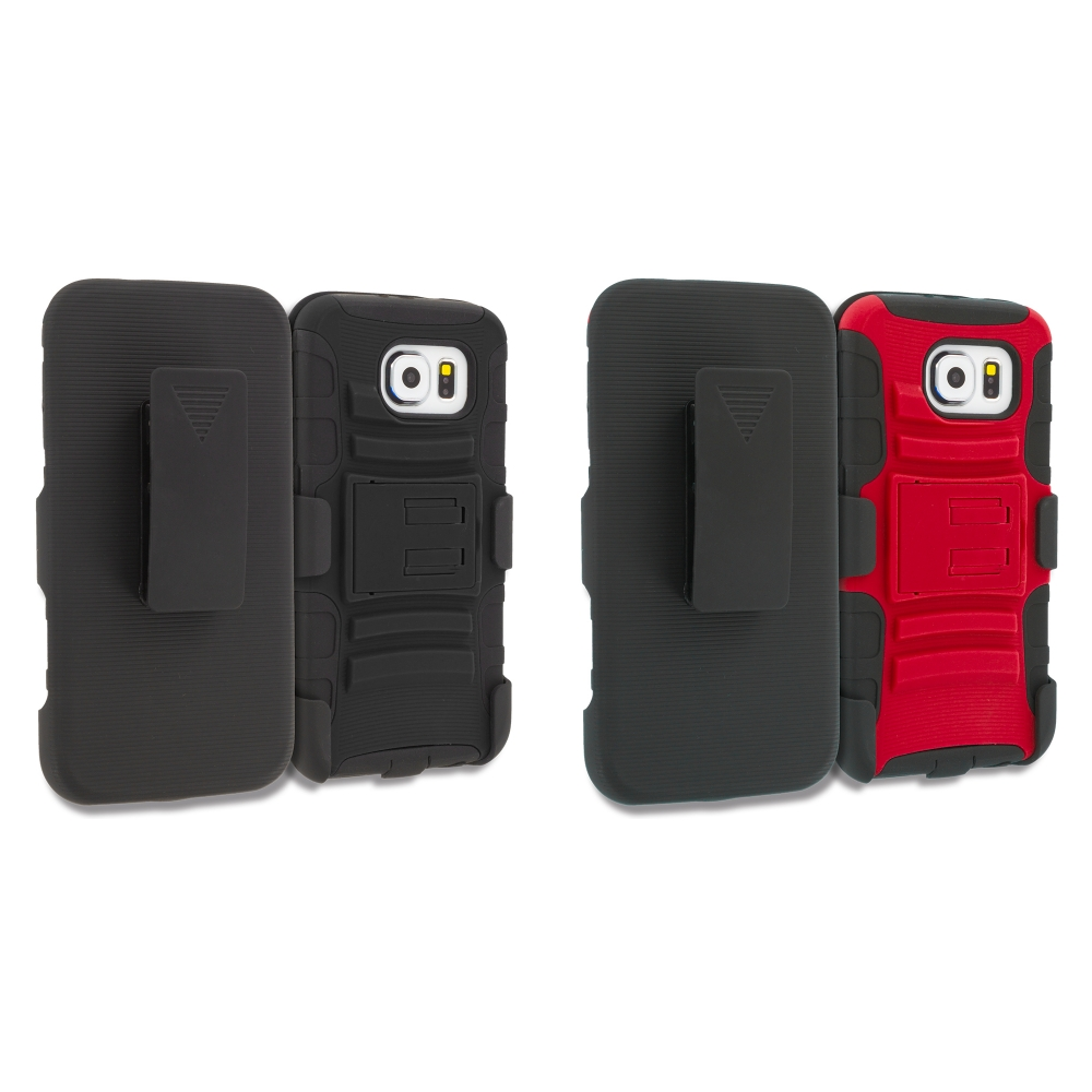 Samsung Galaxy S6 2 in 1 Combo Bundle Pack - Hybrid Heavy Duty Rugged Case Cover with Belt Clip Holster