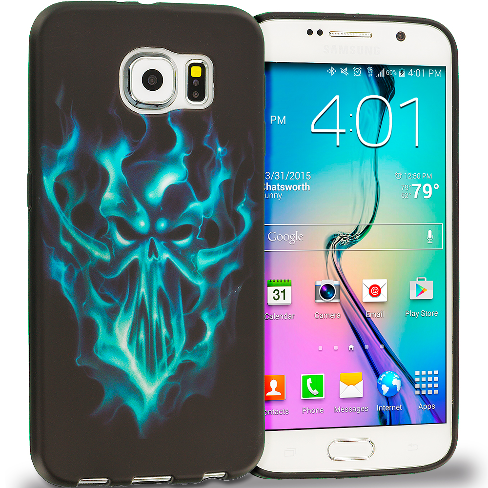 Samsung Galaxy S6 Combo Pack : Black Blue Skull TPU Design Soft Rubber Case Cover : Color Blue Skull Face