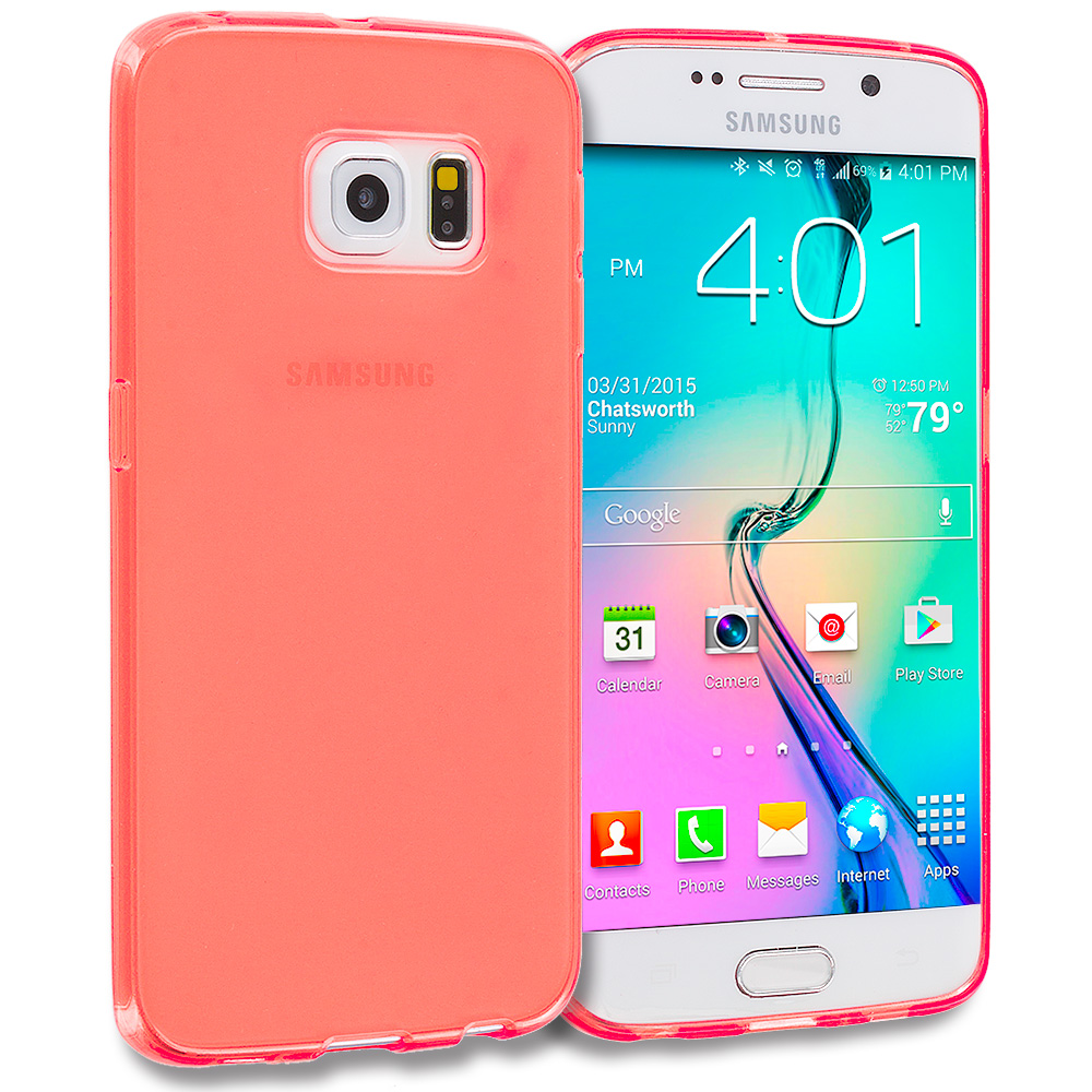 Samsung Galaxy S6 Edge Orange Plain TPU Rubber Skin Case Cover