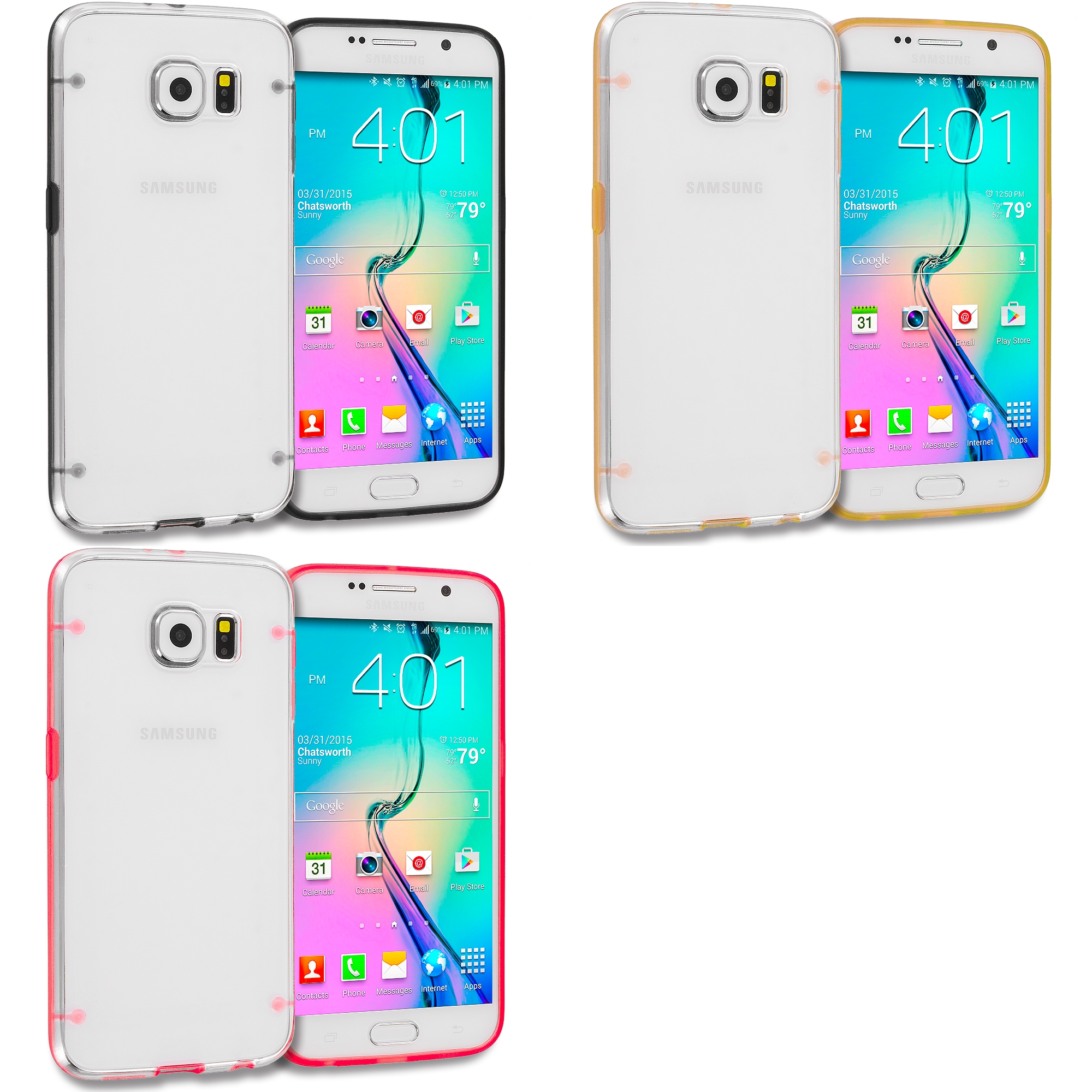 Samsung Galaxy S6 3 in 1 Combo Bundle Pack - Crystal Robot Hard TPU Case Cover