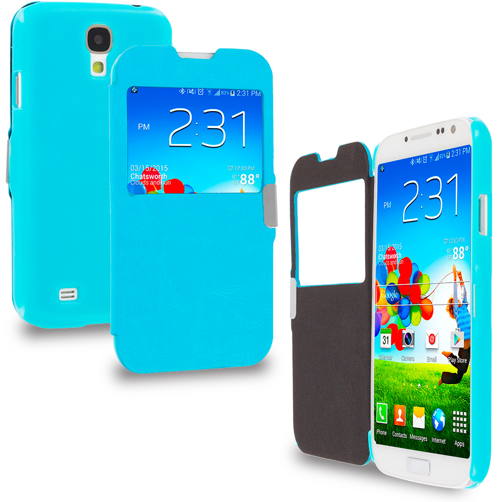 Samsung Galaxy S4 Baby Blue S-View Magnetic Flip Wallet Case Cover Pouch
