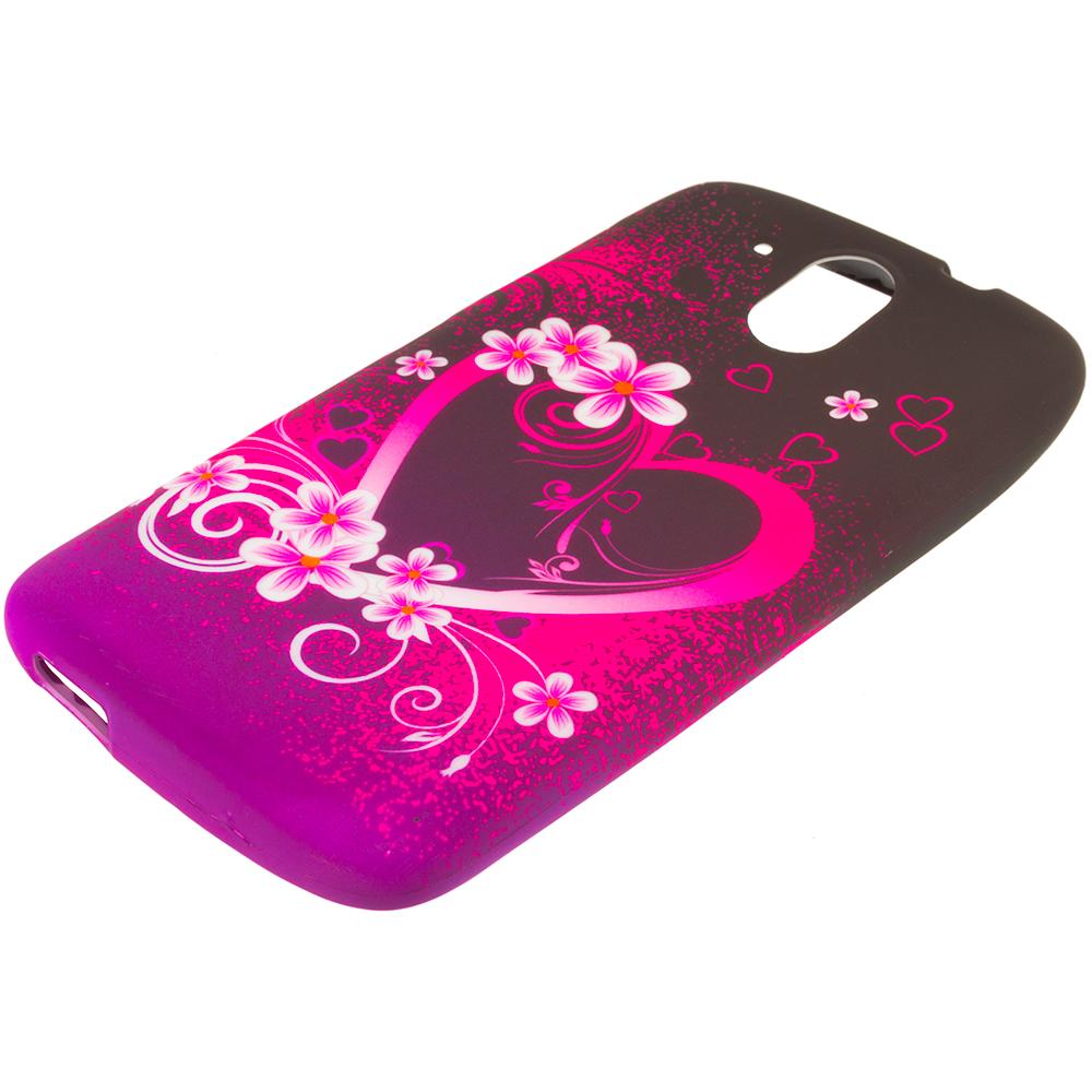 HTC Desire 526 Purple Love TPU Design Soft Rubber Case Cover