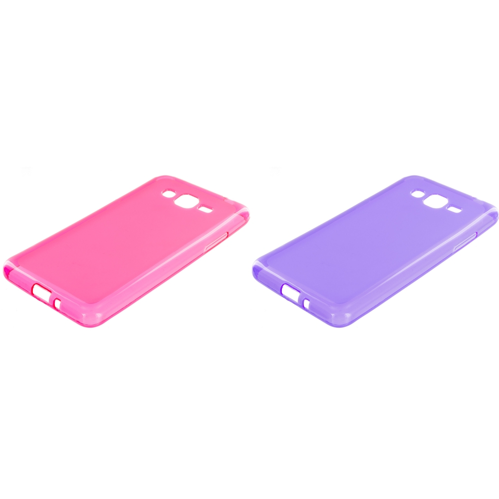 Samsung Galaxy Grand Prime LTE G530 2 in 1 Combo Bundle Pack - Hot Pink Purple TPU Rubber Skin Case Cover