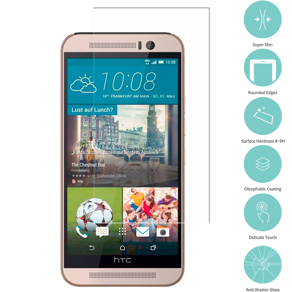 HTC One M9 Clear Tempered Glass Film Screen Protector Clear