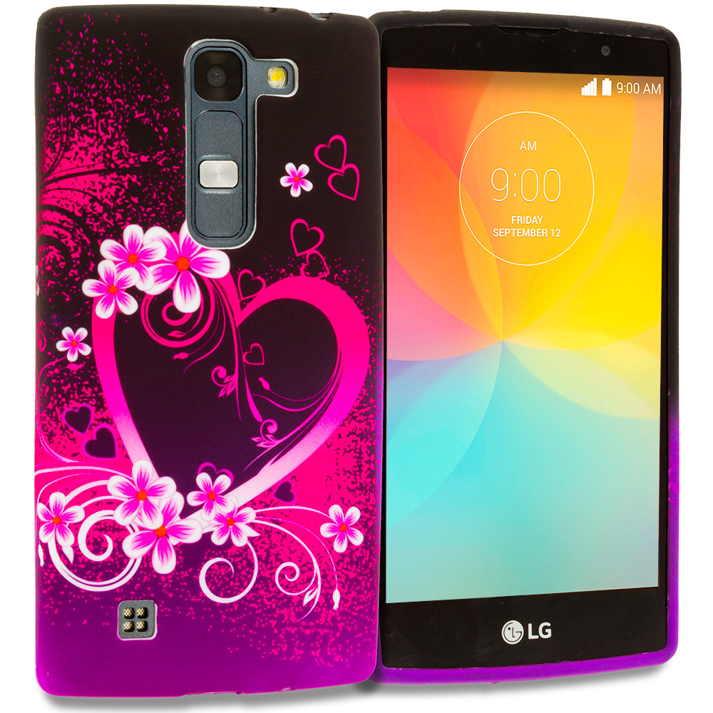 LG Escape 2 Logos Spirit LTE Purple Love TPU Design Soft Rubber Case Cover