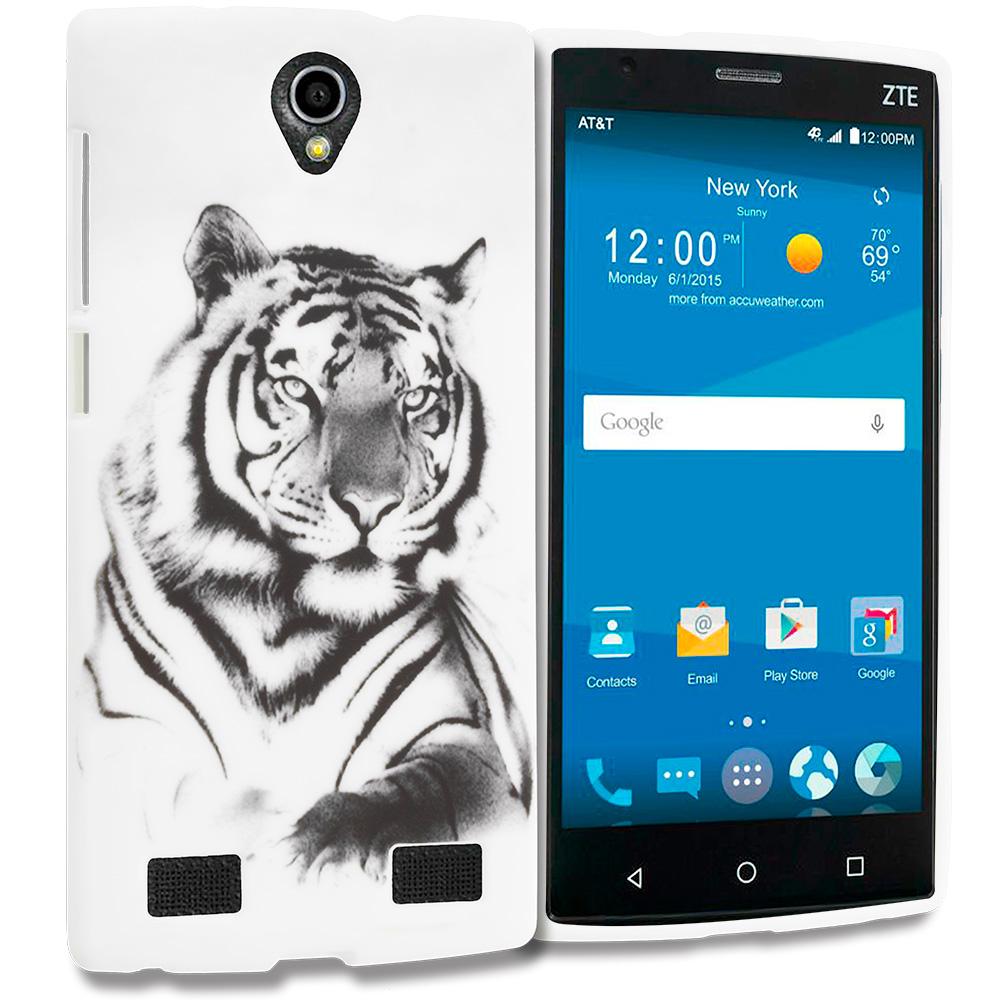 ZTE Zmax 2 White Tiger TPU Design Soft Rubber Case Cover