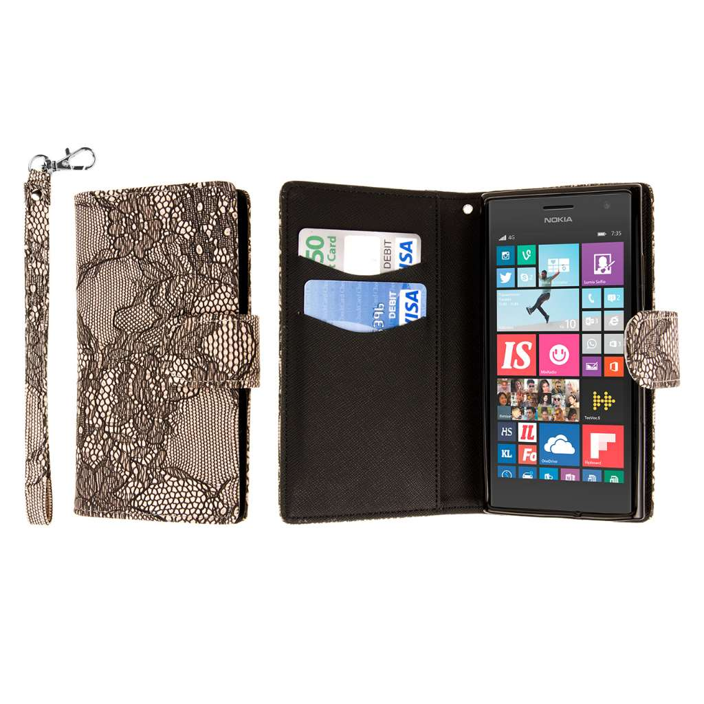Nokia Lumia 735 - Black Lace MPERO FLEX FLIP Wallet Case Cover