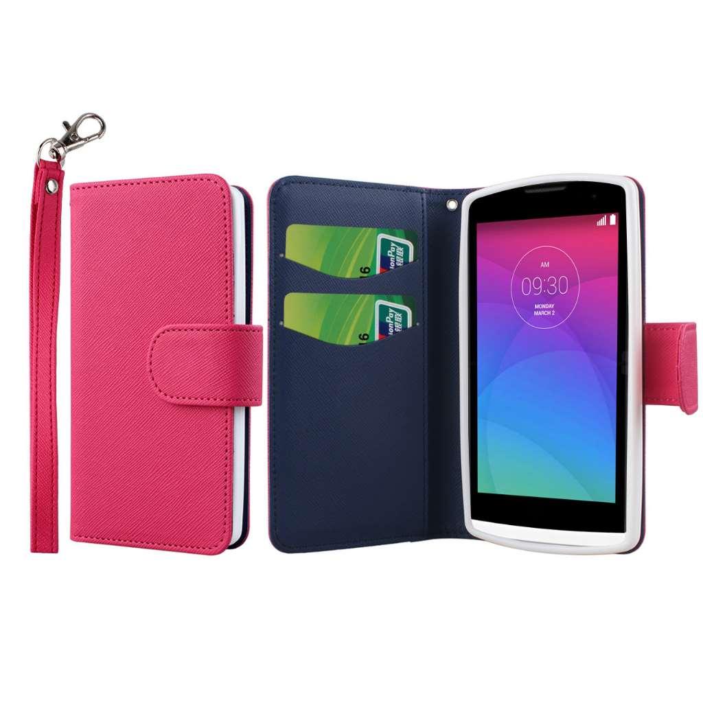 LG Leon - Hot Pink MPERO FLEX FLIP Wallet Case Cover