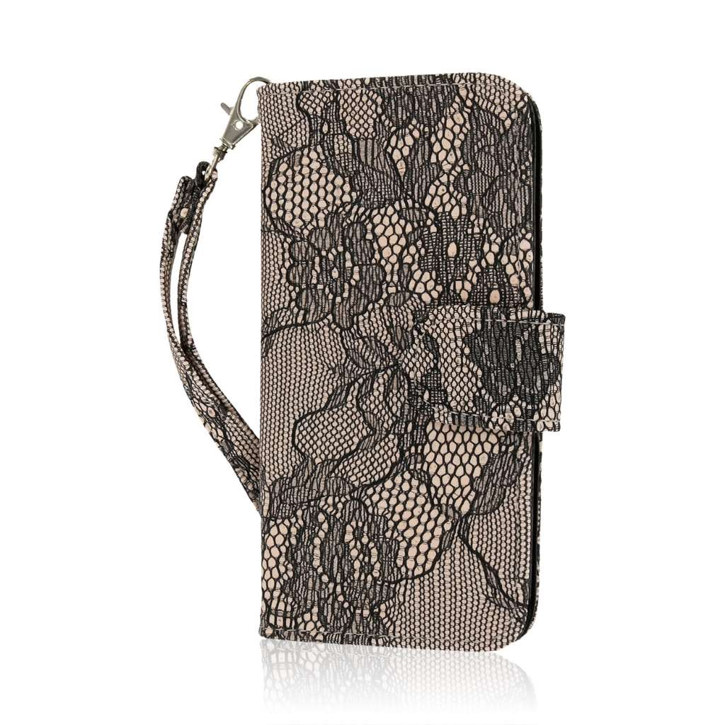 Apple iPhone 6/6S - Black Lace MPERO FLEX FLIP Wallet Case Cover